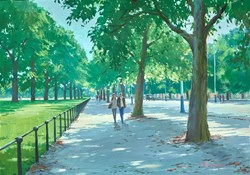 Along The Mall by Charles Rowbotham - Original Painting on Board sized 17x12 inches. Available from Whitewall Galleries